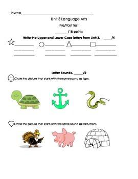Kindergarten Treasures Unit 2 Pre/Post Assessment