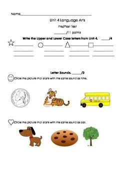Kindergarten Treasures Unit 4 Pre/Post Assessment