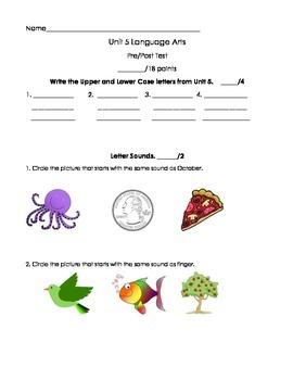 Kindergarten Treasures Unit 5 Pre/Post Assessment