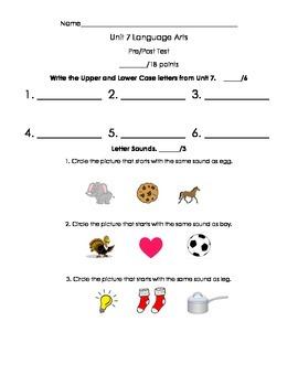 Kindergarten Treasures Unit 7 Pre/Post Assessment