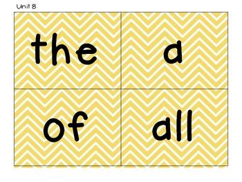 Kindergarten Tricky Word Cards-Yellow Chevron