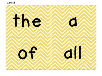 Kindergarten Tricky Word Cards-Yellow Chevron