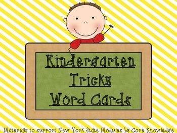 Kindergarten Tricky Word Cards-Yellow Stripes