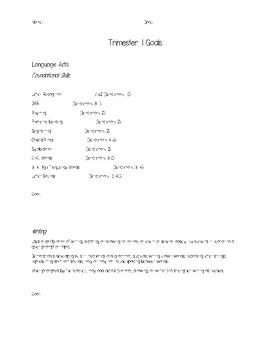 Kindergarten Trimester 1 Goals Sheet