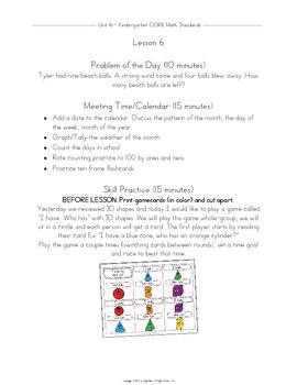 Kindergarten Unit 16 CORE Math