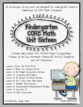 Kindergarten Unit 16 CORE Math