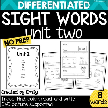 Sight Word Practice Unit 2
