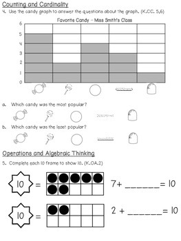 Kindergarten Unit 3 Math Pre & Post Test (Everyday Math & Common Core)