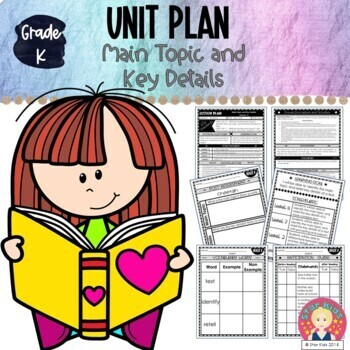 Kindergarten Unit Plan: Main Topic and Key Details - EDITABLE