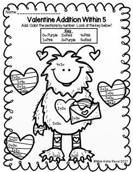Kindergarten Valentine Addition & Subtraction Within 5 ...