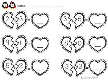 Kindergarten Valentine Addition to 10