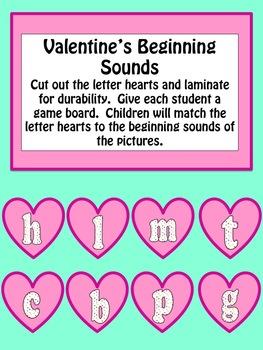 Kindergarten Valentine Literacy Center Activities Initial Sound and CVC Words