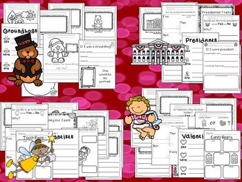 Kindergarten Valentine's Day Centers Bundle- Literacy, Math, and Writing