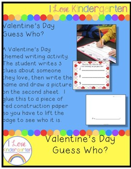 """Kindergarten Valentine's Day """"Guess Who?"""" Writing Activity"""