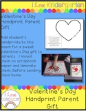 Kindergarten Valentine's Day Handprint Parent Gift
