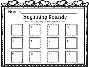 Kindergarten Valentine's Day Literacy Center - Beginning Sound Clip Cards