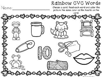 Kindergarten Valentine's Day Literacy Center - CVC Word Center