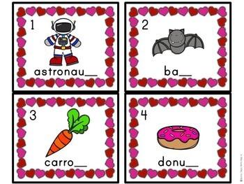 Kindergarten Valentine's Day Literacy Center - Ending Sound Center