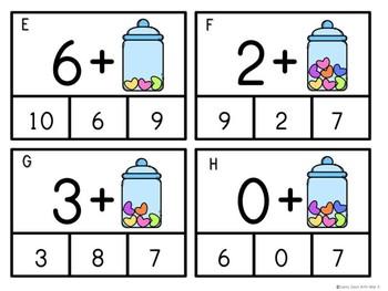 Kindergarten Valentine's Day Math Center - Candy Heart Addition Clip Cards
