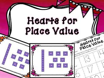 Kindergarten Valentine's Day Math Center - Kindergarten Place Value Center