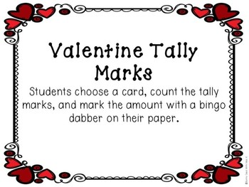 Kindergarten Valentine's Day Math Center - Tally Mark Center