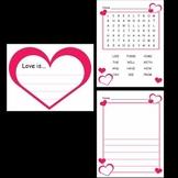 Kindergarten Valentine's Day Writing Activities / Worksheets