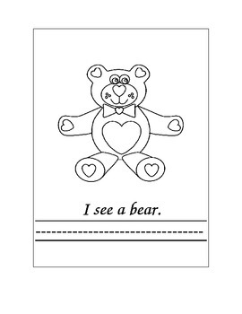 """Kindergarten """"Valentine's Day...I See""""Sight Word Book For Reading and Writing"""