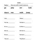 Kindergarten Verb Sentences