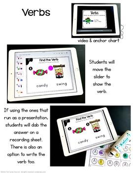 Kindergarten Verbs Digital Task Cards - Paperless for Google Use