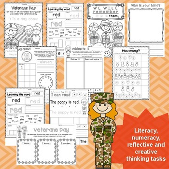 Kindergarten Veterans Day activities - Reading / Writing / Math