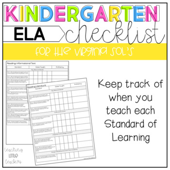 Kindergarten Virginia SOL Checklist for ELA