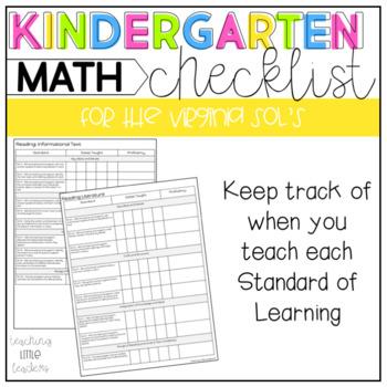 Kindergarten Virginia SOL Checklist for Math