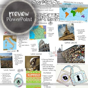 Elementary Art Lesson, Kindergarten One Day Project on France & Italy Love Locks