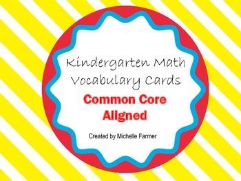 Kindergarten Vocabulary Cards (Common Core) Landscape Orientation