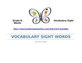 Kindergarten-Vocabulary Sight Words (>250)