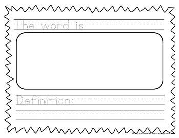 Kindergarten Vocabulary Word Work