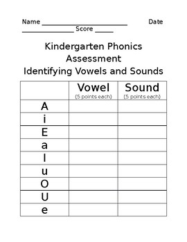 Kindergarten Vowel Assessment