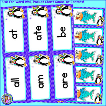 Kindergarten: WINTER Dolch Sight Word Cards/Pocket Chart Game
