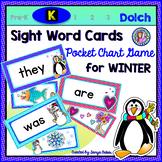 Kindergarten: WINTER Dolch Sight Word Cards/Pocket Chart Game