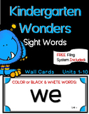 Kindergarten WONDERS ~ Wall Words~ Filing System Included! Units 1-10