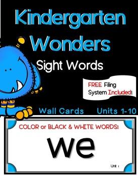 Kindergarten WONDERS ~ Wall Words~ Filing System Included!