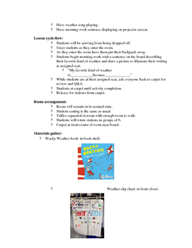 Kindergarten ELA Lesson Plan- Weather