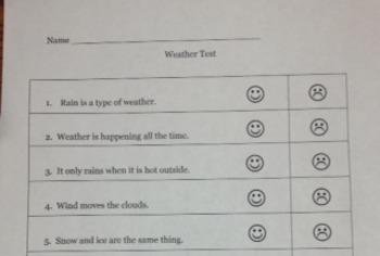Kindergarten Weather Test