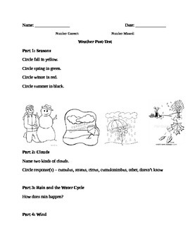 Kindergarten Weather Unit - Post-Assessment
