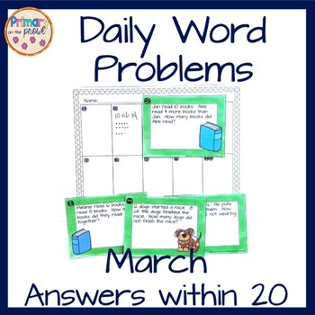 Kindergarten Wednesday Word Problems- March