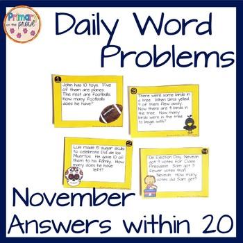 Kindergarten Wednesday Word Problems- November