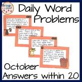 Word Problems for Kindergarten- October Math