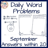 Daily Word Problems September, Back To School and Apple Themed