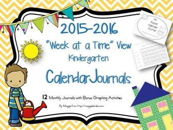 Kindergarten Week at a Time Calendar Journal Updated 2016-17