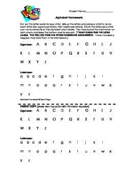 Kindergarten Weekly Alphabet Homework